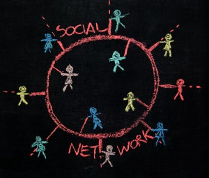 PR, social media and networking for small business people on a chalkboard